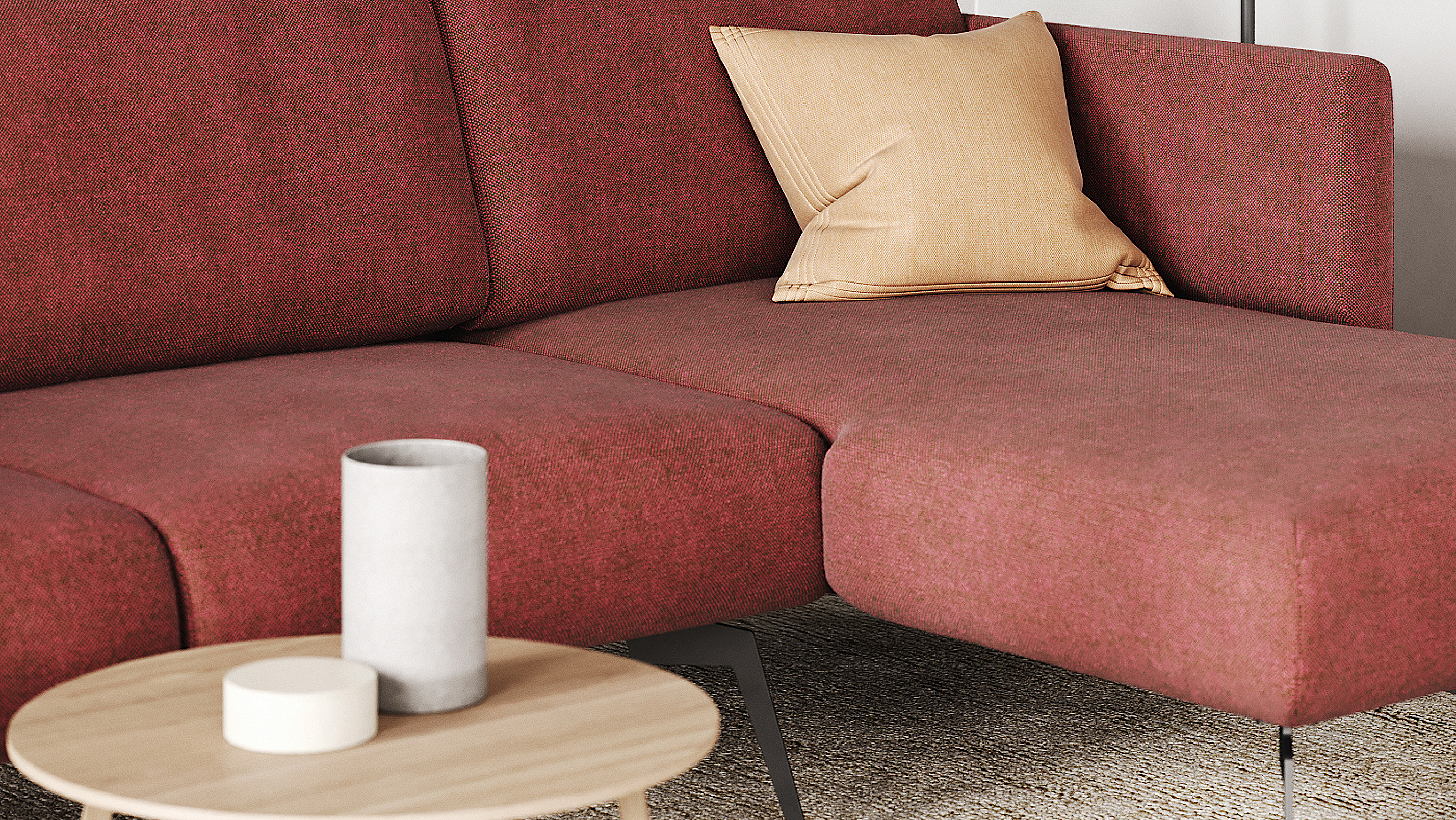 Close-up photo of the sofa Adele in rusty red color.
