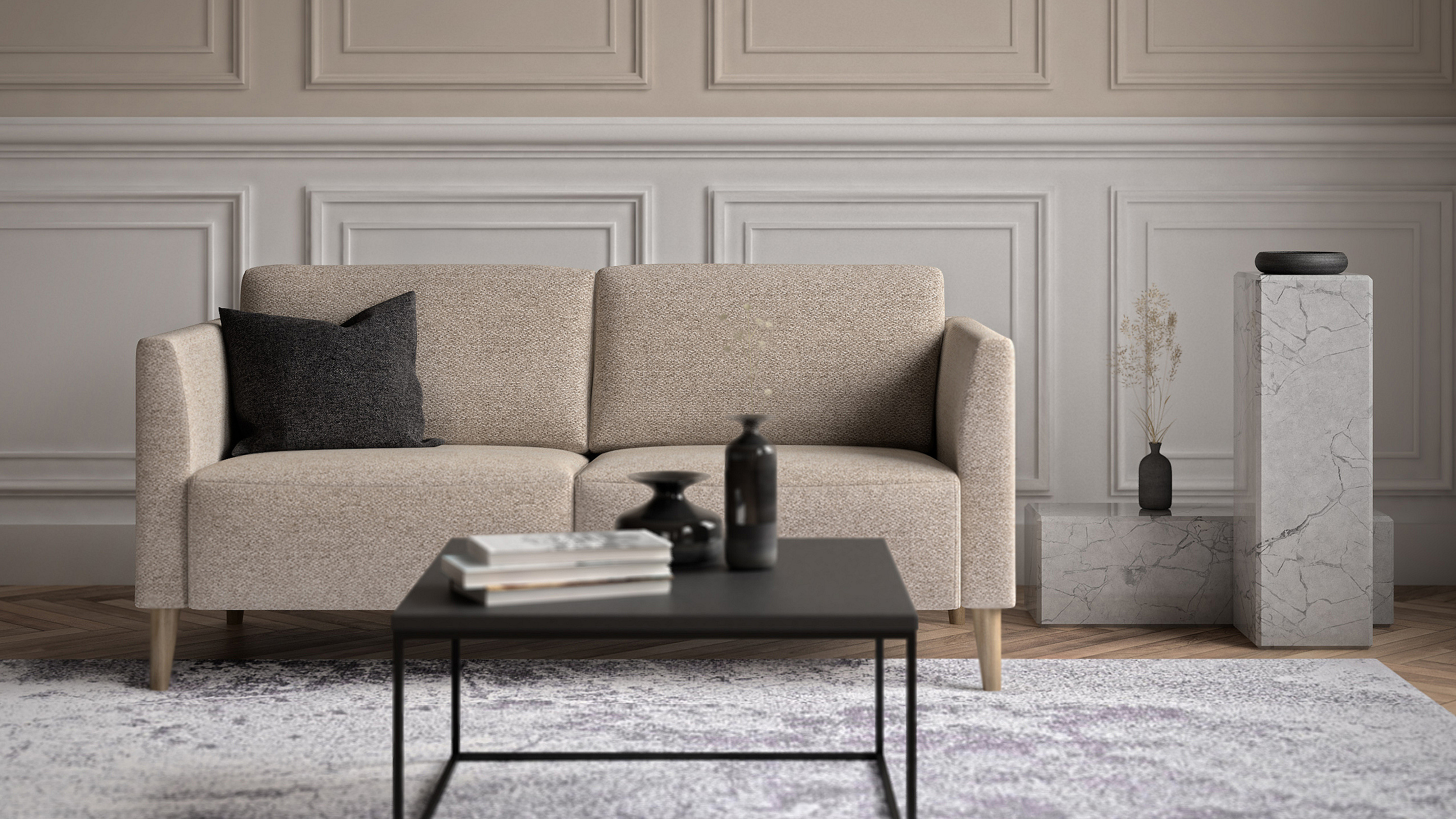 Living room example with the sofa Augusta in neutral colors.