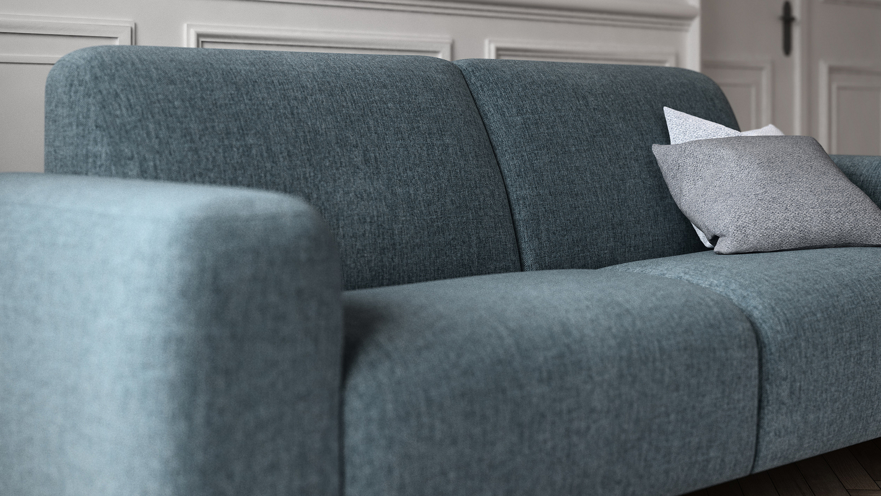 A close-up photo of the model Andora in ocean color.