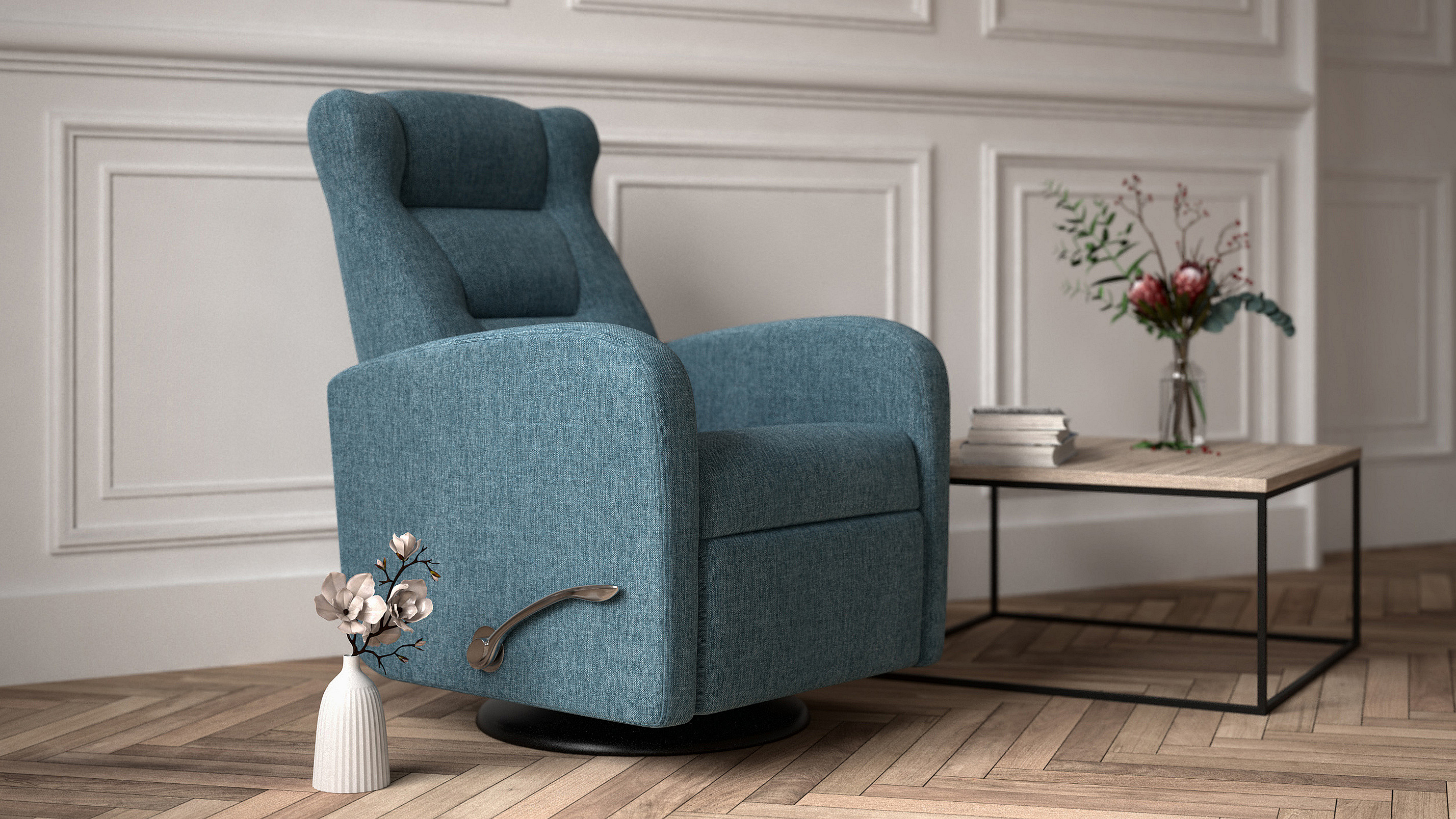 Ocean blue color recliner called Vitto.