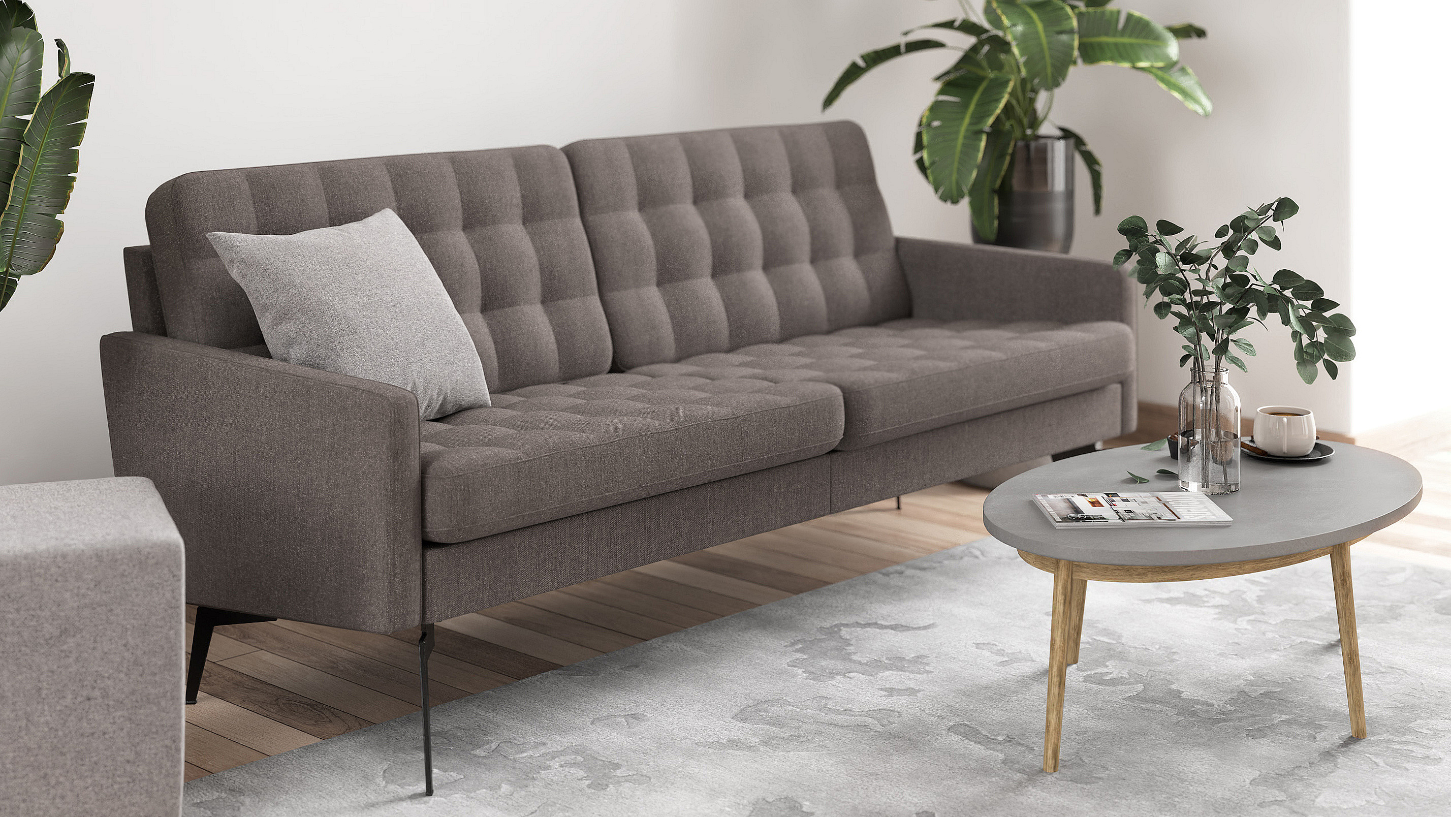 Living room example with the sofa Icon in dark grey.