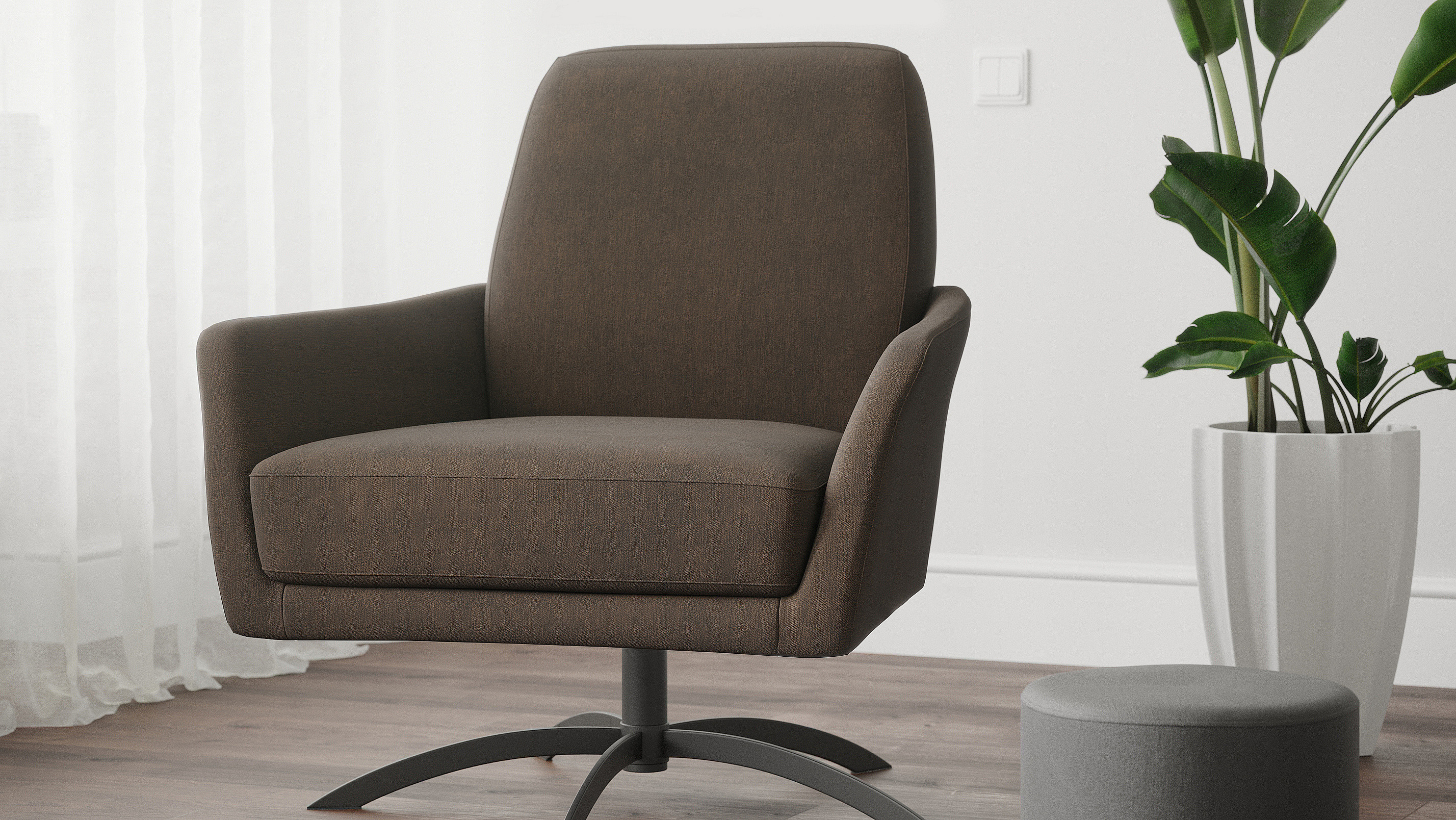 Interior visualization of the lounge-chair called Etro.