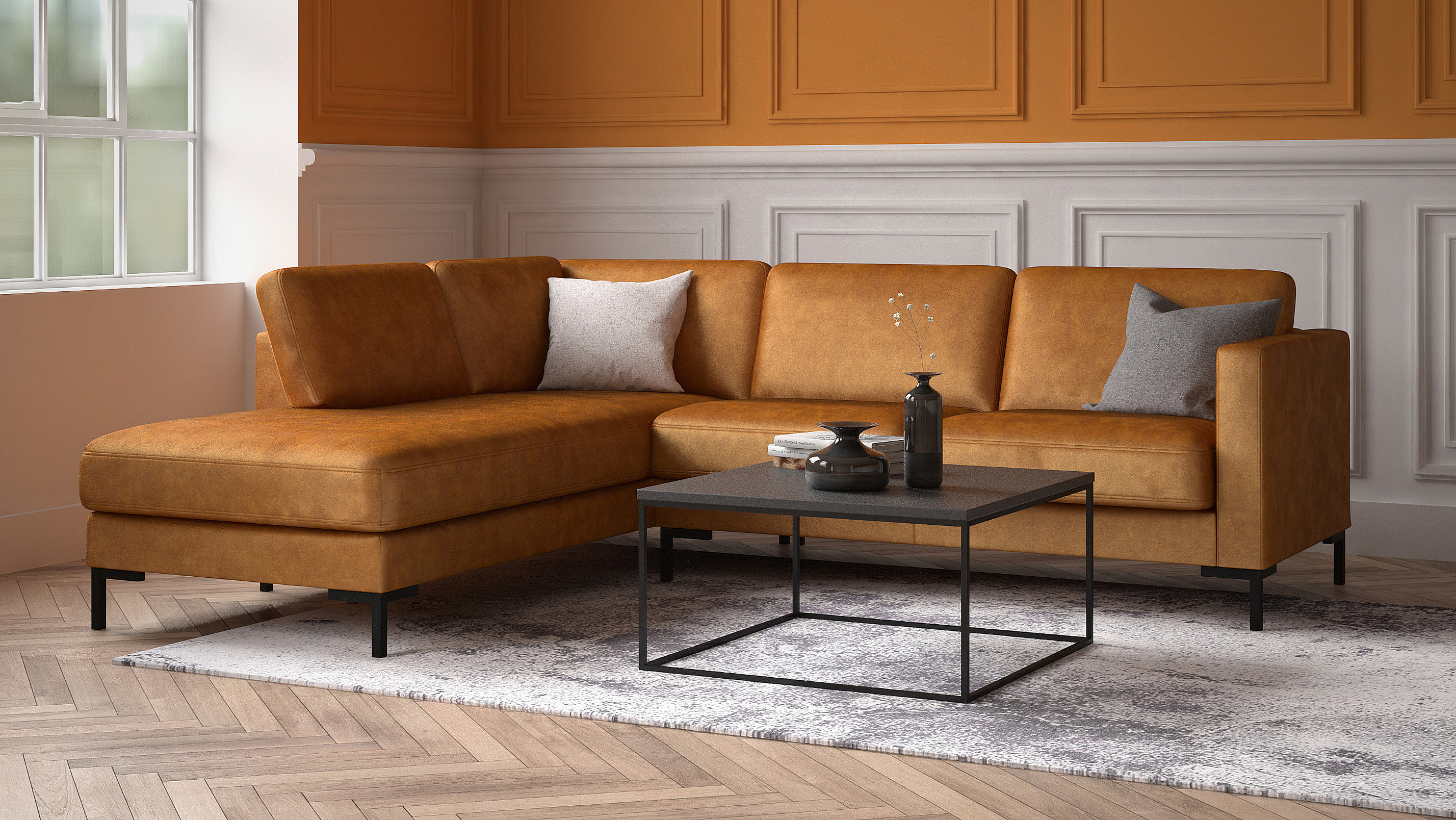 Living room example with a sofa in leather.