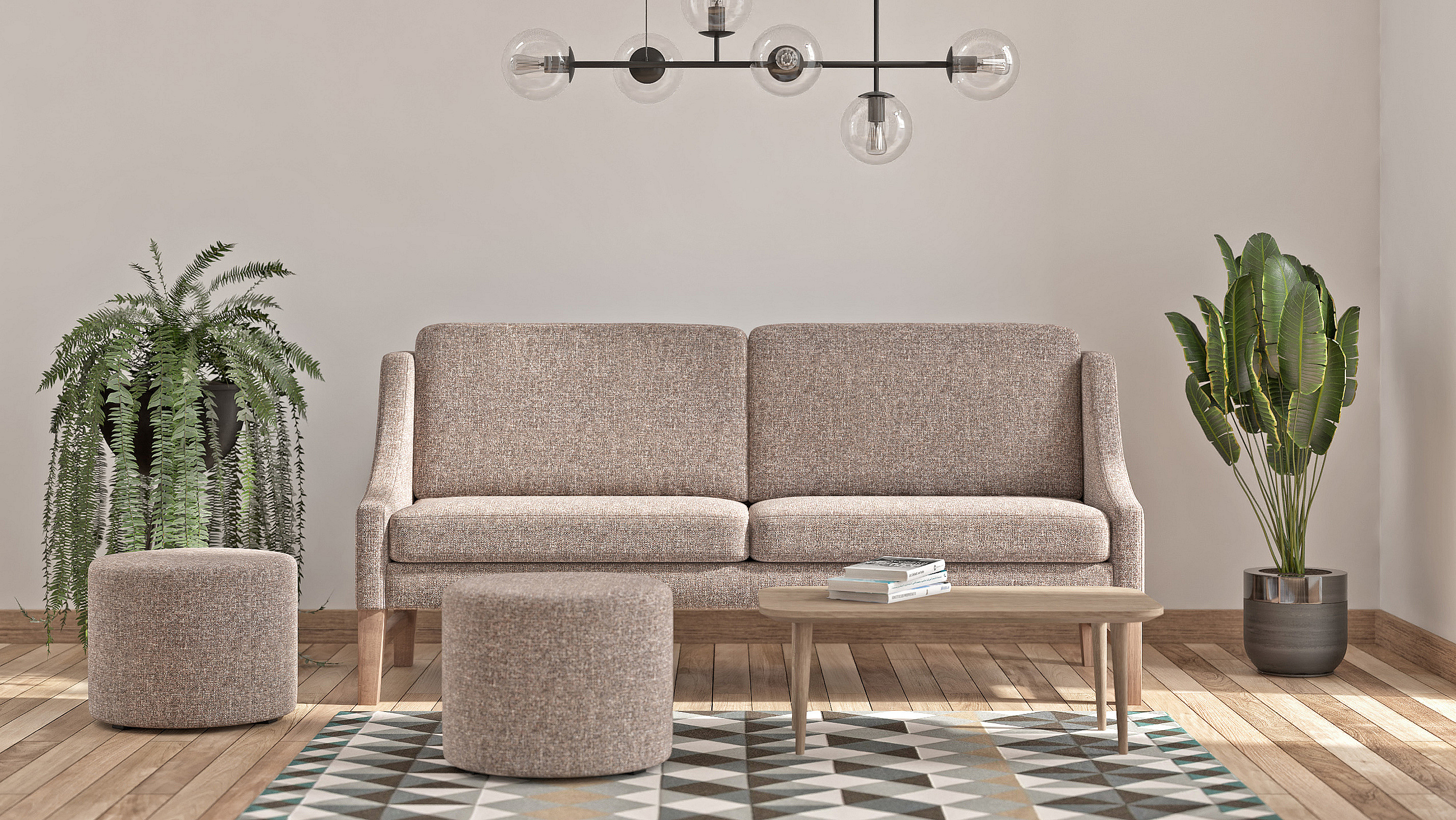 Living room example with the bench called Davos in netural colors.