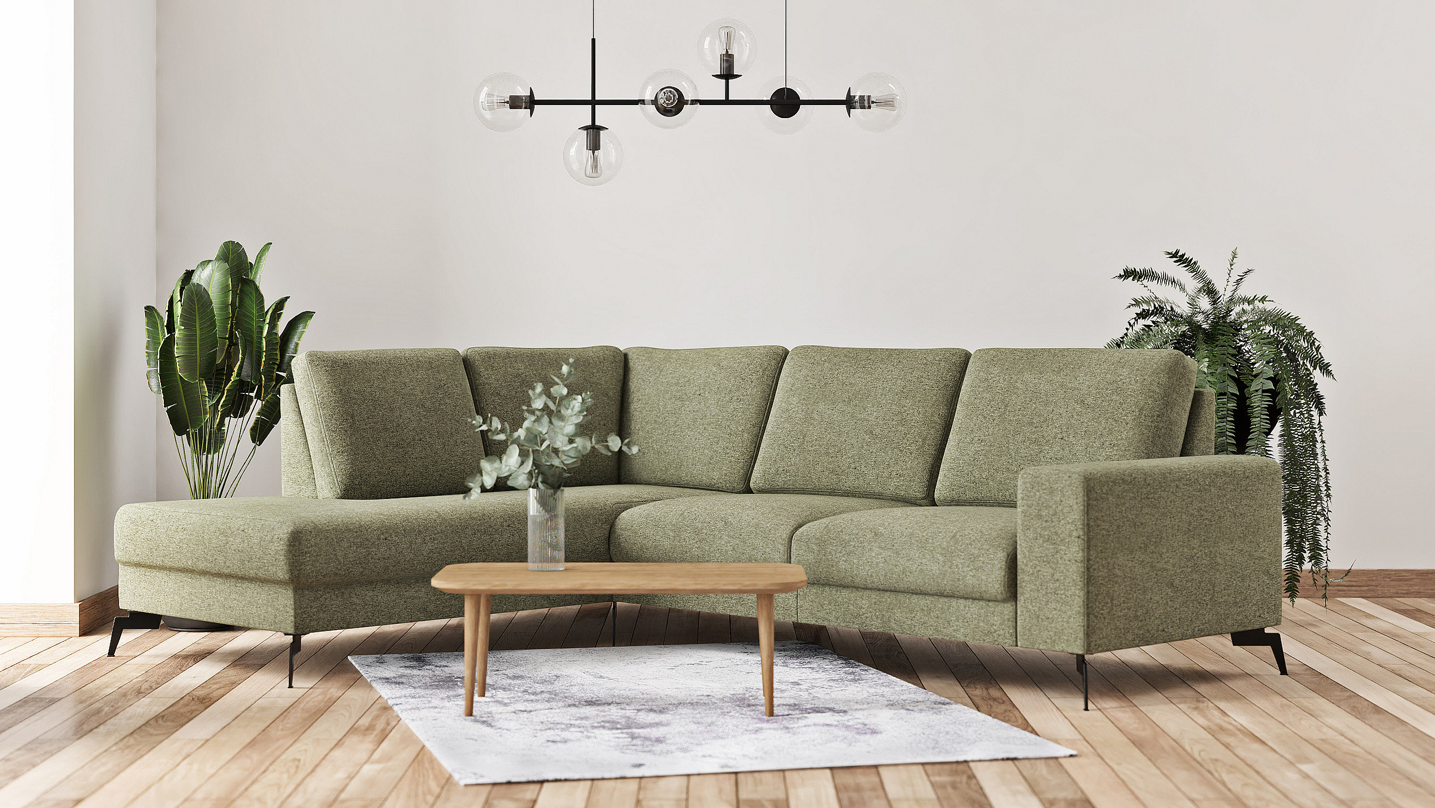 Living room example with the sofa Padova in grass green color.