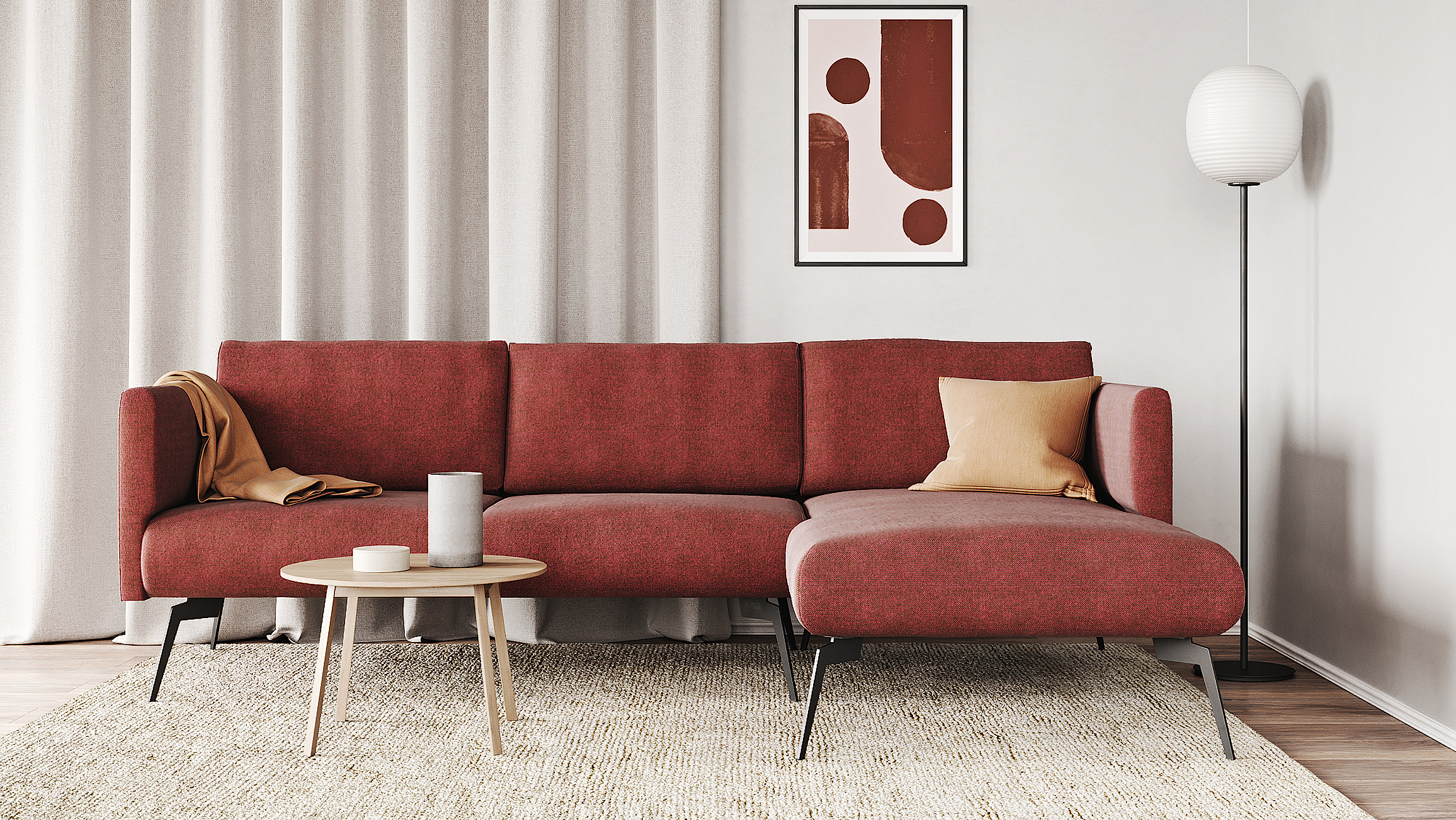 Living room example with the sofa Adele in rusty red color.