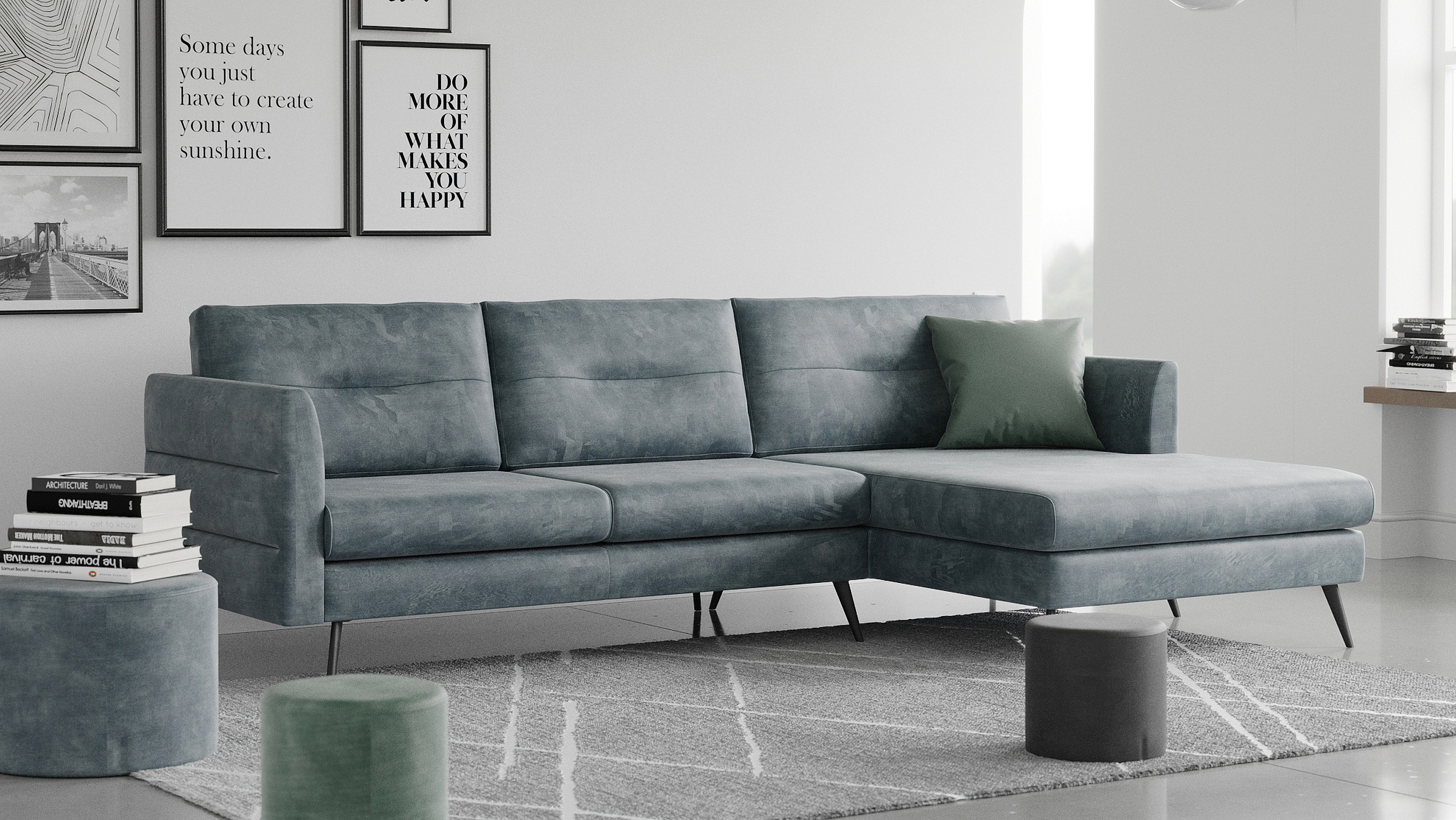Living room with the corner sofa called Molino.