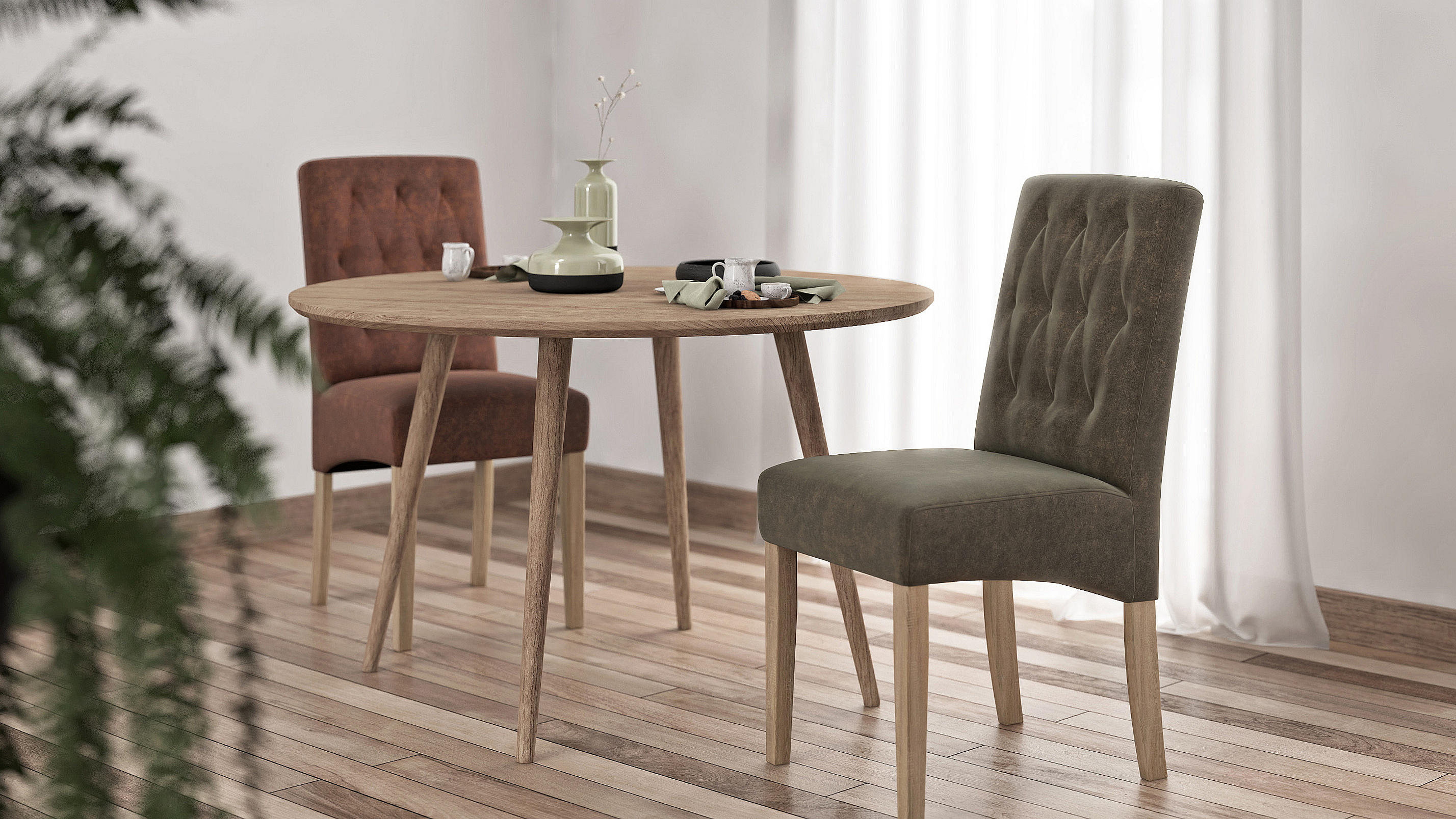 Stina chairs close to table.